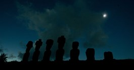 Stone statues known as Moais are pictured during the total solar eclipse at Easter Island, 4000 km west of Chile (AP).
