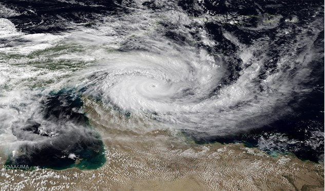 A satellite image of Cyclone Ita shows the size of this Category 5 storm.