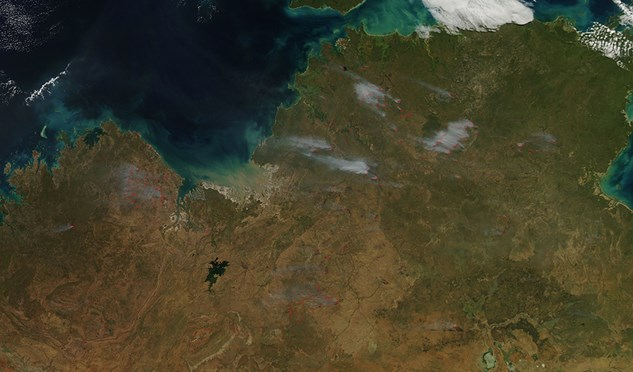 A satellite image taken 8 May 2014 of large fires over northern Australia