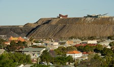 Broken Hill is surrounded by its marks of its mining industry, the Line of the Lode memorial looks down on Broken Hill from atop the 'mullock heap'