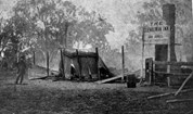The burnt remains of the Glenrowan Inn, after a siege between the Kelly Gang and Victorian Police.