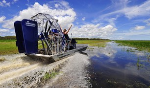 One of the best ways to see the Mary River is by airboat.