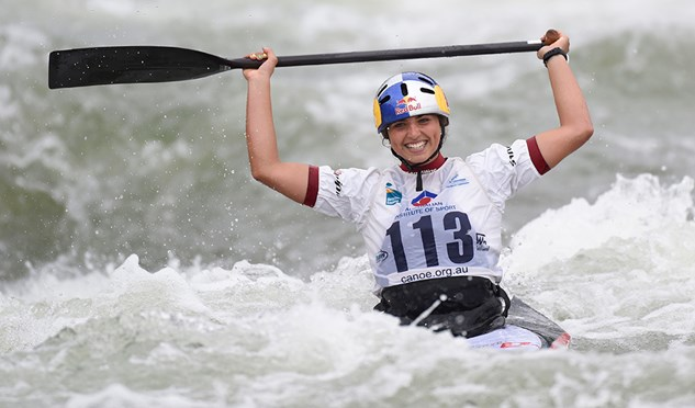 Australia's Jessica Fox has just become the first female to win the K1/C1 double at a world championship.