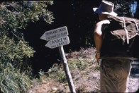 A slide from Ernie Amstrong's 1957 trip to the Overland Track.