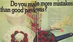An ad for instant Pavlova mix from March, 1970, in the Australian Women's Weekly magazine.