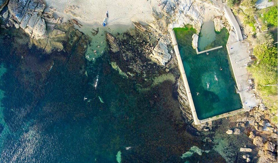 Fairlight Beach And Tidal Swimming Pool Drone Technology Has Captured The Interesting Blue Hues Offered By Shallow Waters Off