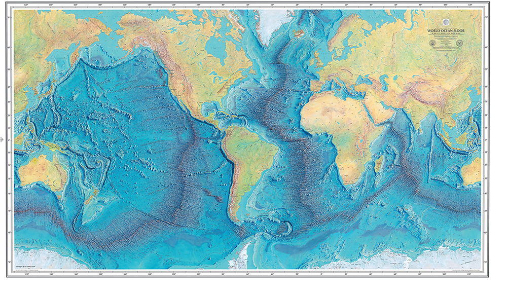 The worlds first ocean floor map australian geographic the first map of the worlds oceans image credit courtesy marie tharp maps gumiabroncs Image collections
