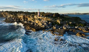 Drone footage above Sydney Harbour's south headland reveals hidden beaches and angles never seen before.