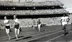 Betty Cuthbert wins the women's 4x100m final at the 1956 Melbourne Olympics