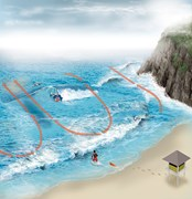 Rip currents illustration by Jeff Goertzen - Australian Geographic