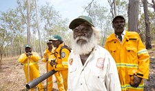 Warddeken rangers use rakes and leaf blowers as part of their fire management on the western Arnhem Land plateau in northern Australia.