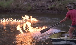 Ignited methane gas from the seep on the Condamine River.