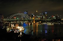 Sydney Harbour skyline at night