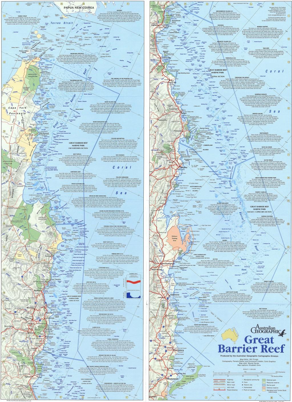 Great Barrier Reef Queensland Map Australian Geographic - Detailed map of queensland australia