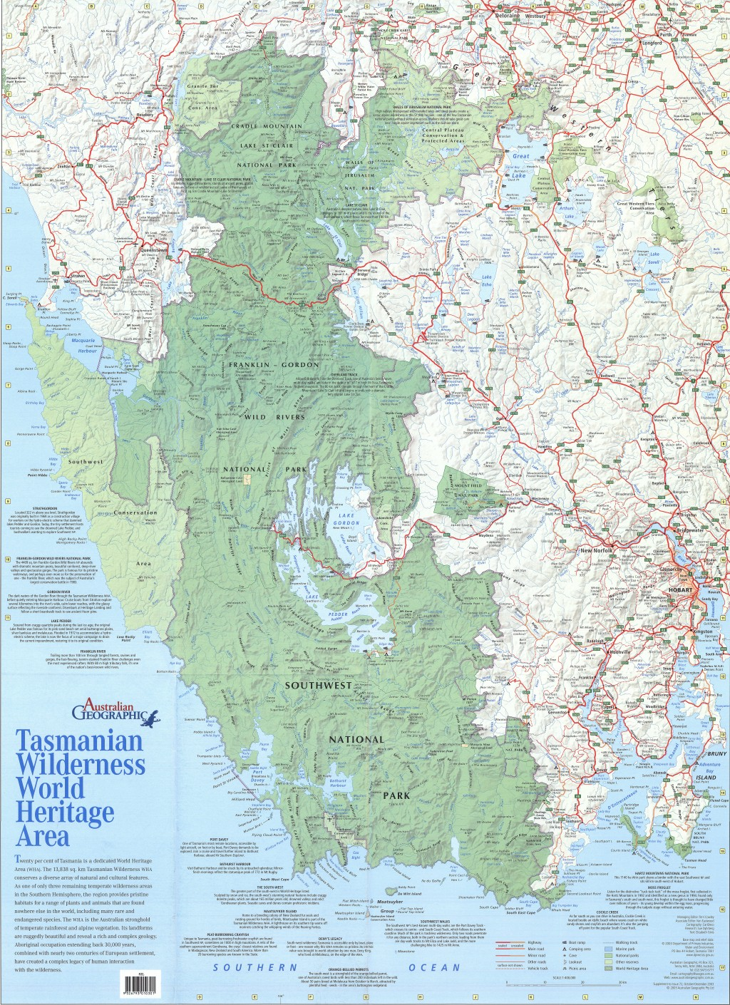South west tasmania world heritage map australian geographic gumiabroncs Image collections
