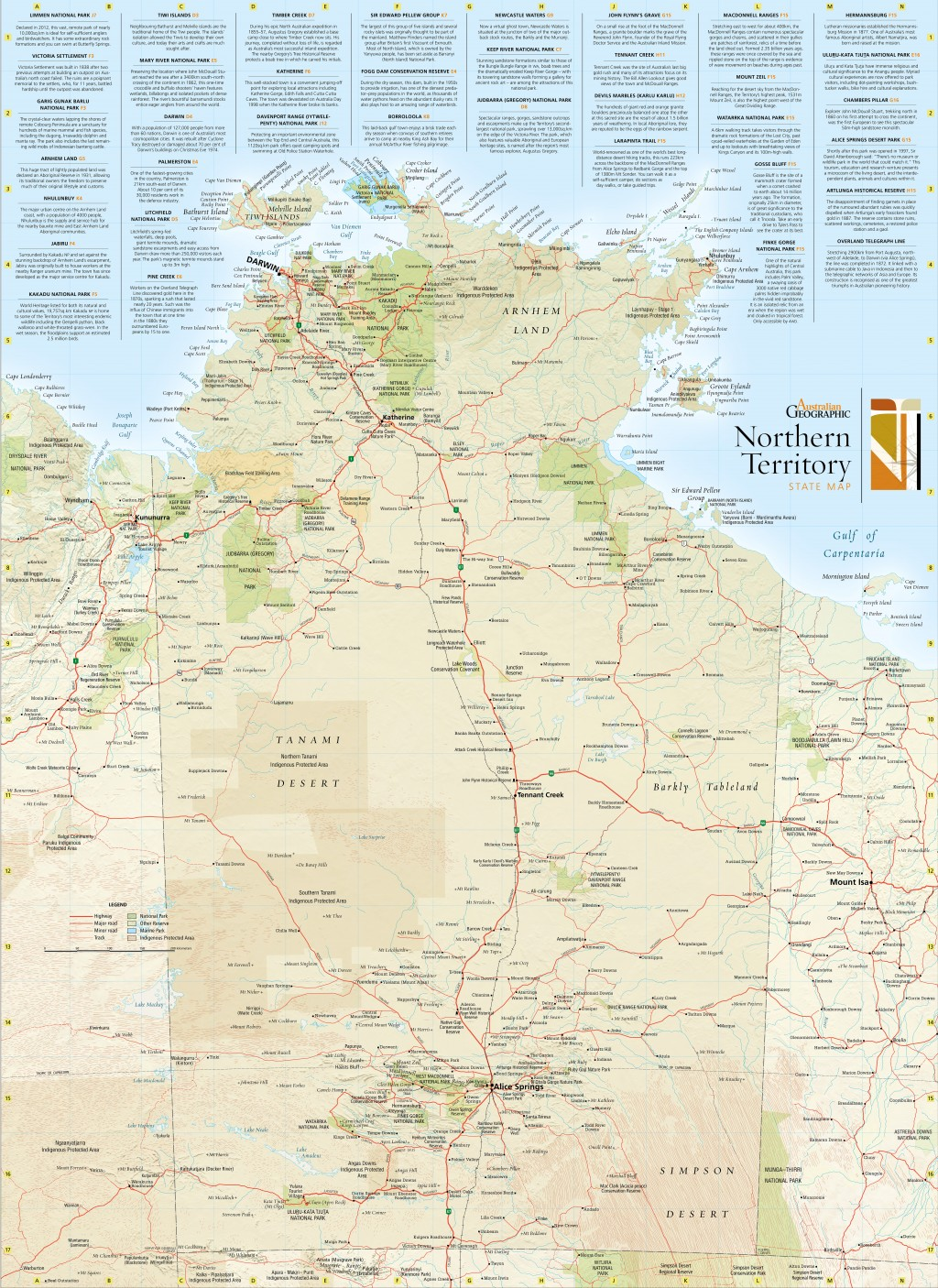 Northern Territory state map Australian Geographic