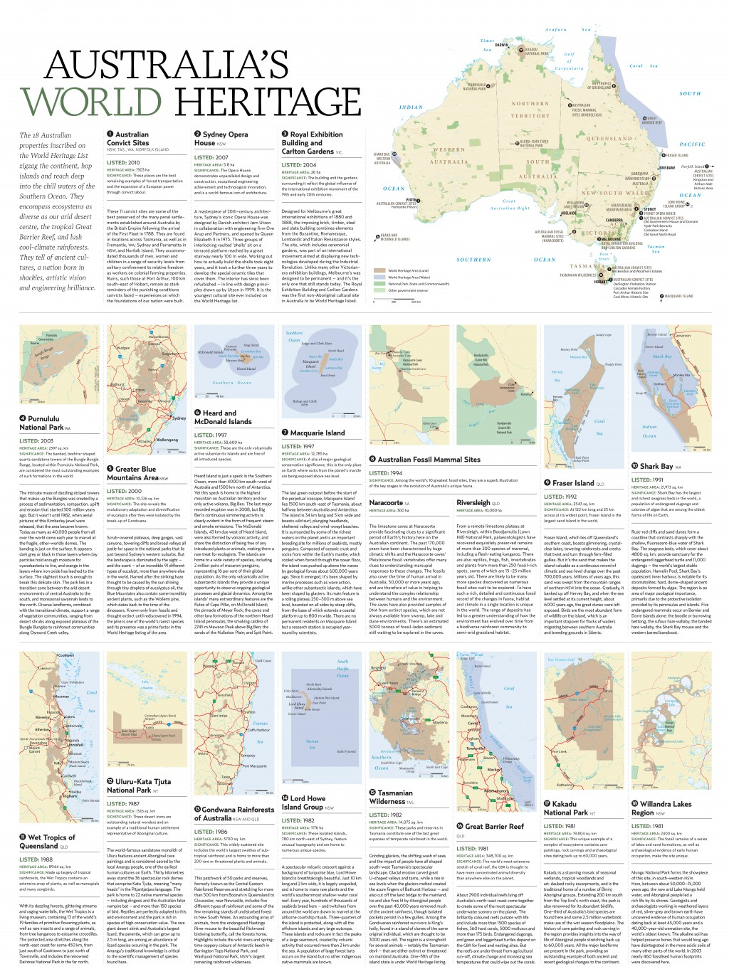 World heritage areas australian geographic world heritage areas map there are 18 sites across australia gumiabroncs Gallery