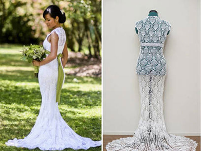 World's craftiest woman creates her wedding dress for $30