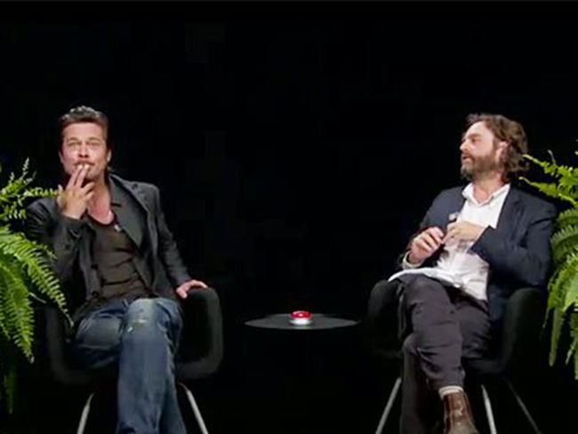 Brad Pitt gets interviewed by Zach Galifianakis, spits on him