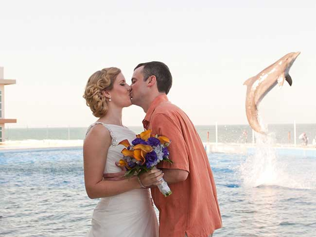 Couple photobombed by a dolphin in the most joyous wedding pic of all time