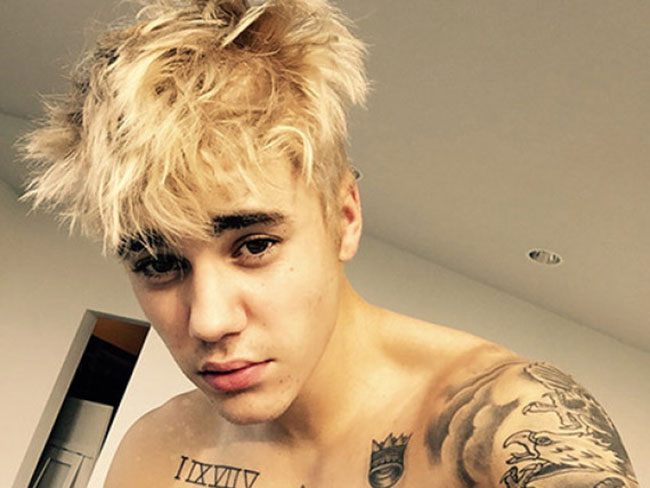 Justin Bieber has platinum blonde hair
