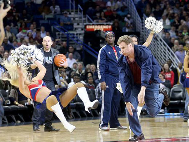 Watch Will Ferrell hit a cheerleader in the face with a basketball