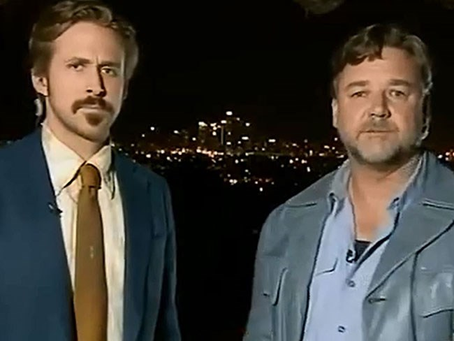 Watch Ryan Gosling crash Russell Crowe on live TV
