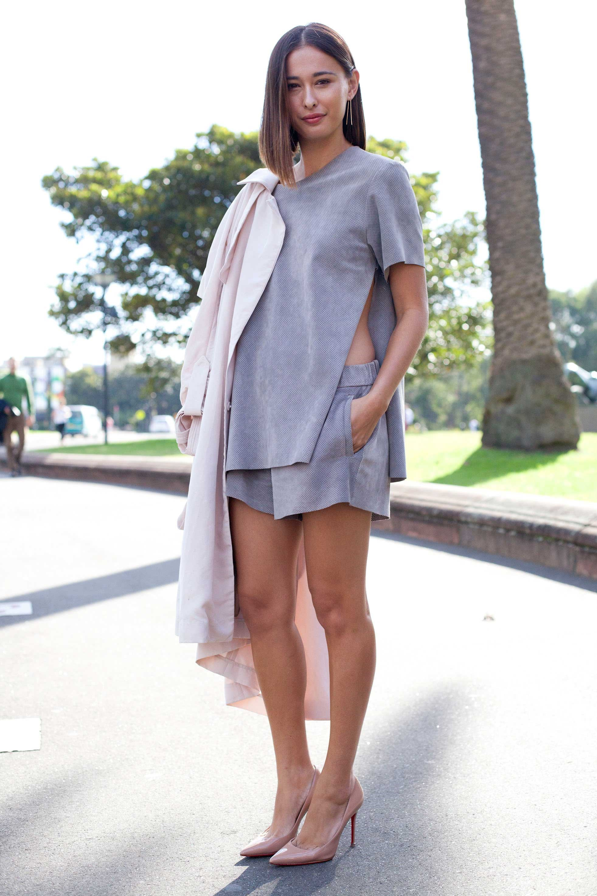 Grey-on-grey is totally a thing, especially when it's broken up with flashes of peach. Just ask Eleanor Pendleton.