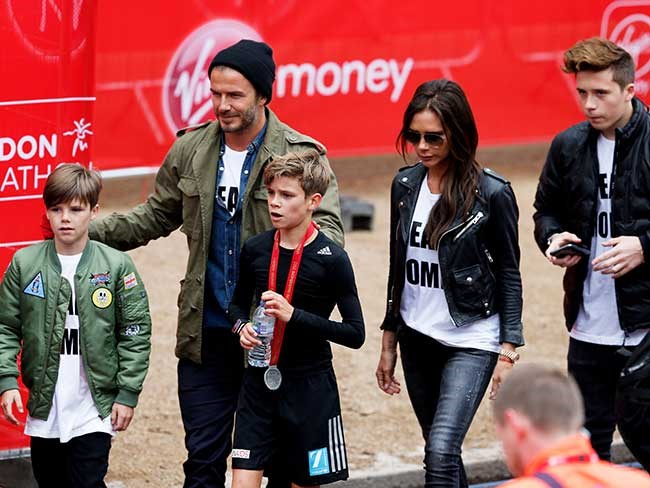 The Beckham family had matching 'Team Romeo' T-shirts made