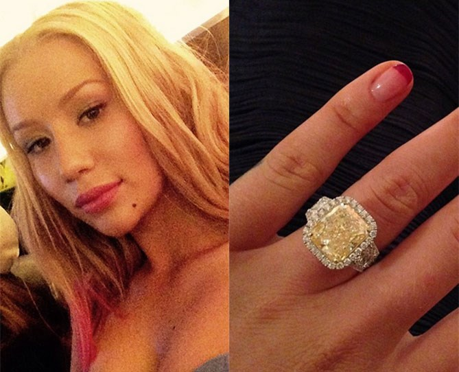 """Look at the SIZE of it! Iggy received this 10-carat, $500,000 diamond engagement ring from her [NBA fiancé, Nick Young](http://www.cosmopolitan.com.au/bride/news/2015/6/iggy-azalea-engaged-nick-young/