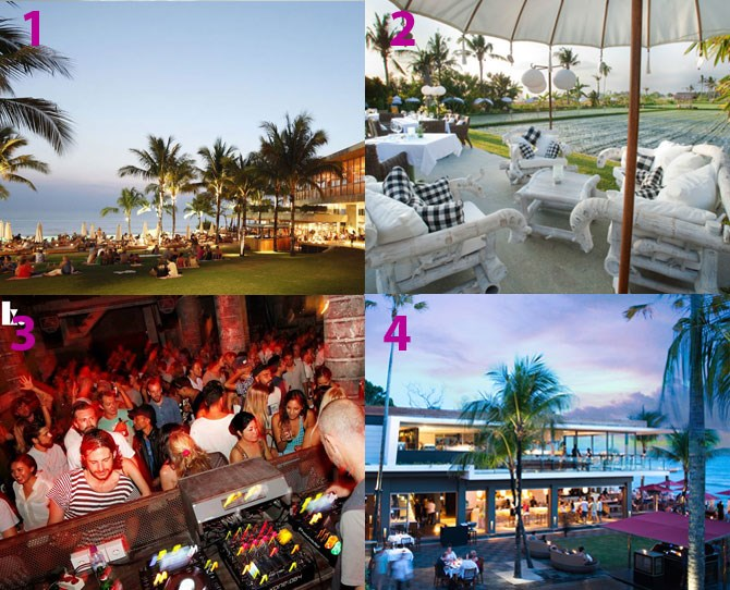 "**Where to eat/drink:** [Ku De Ta](http://www.kudeta.net/|target=""_blank"") (4) for a mashup of daytime beachfront drinks and fine dining, [Potato Head Beach Club](http://www.ptthead.com/