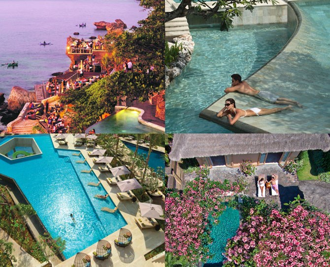 "**For the couple who wants to *really* treat themselves… ** ***[Ayana](http://ayanaresort.com/en/home|target=""_blank"") resort: Jimbaran (prices from $283.72 per night, breakfast included)*** Cards on the table here – the ~UNBELIEVABLE~ Ayana resort ain't cheap, but once you experience it, you immediately understand why. The HUGE resort spans two incredible hotels – the classically stunning Ayana and the super cool and modern [Rimba](http://www.rimbajimbaran.com/