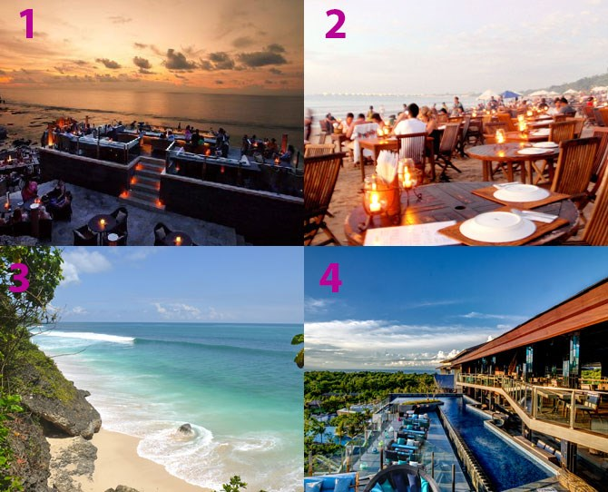 **Where to eat/drink:** The Rock Bar (1) at the Ayana and the Deck Bar (4) at the Rimba boast unbeatable sunset views and cocktails. But if you want to venture further afield, the beaches in Jimbaran are laden with fish restaurants where local fishermen practically dump their catch of the day straight onto your plate. Srsly – it's that fresh. **What to do:** The Aquatonic Spa at the Ayana is truly one of a kind. Work your way around the cliff top salt water pool and its 12 hydro-massage stations all while enjoying sea views and sunshine. And if you're craving some beach action, Balangan Beach (3) is Balinese surfers' paradise.