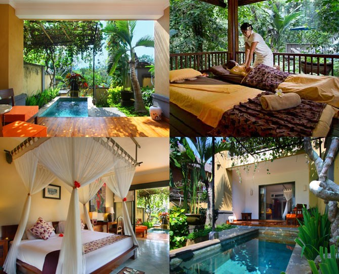 "**For the couple on a budget...** ***[Alam Puri Art Museum Resort and Spa](http://www.cantikbalivillas.com/bali-villas/indonesia/bali/ubud/alam-puri-art-museum-%5D-resort-%5E%5E-spa-villa.aspx?pnum=1|target=""_blank""), Ubud (prices from $59.99 for a 1 bedroom pool villa)*** Yes, you read that price right. Bali is full of so many great budget options. This one bedroom villa with a plunge pool is the price of dinner and drinks in Sydney, or that top you were going to buy from Zara! Check out heaps of other deals and options via [Cantik Bali Villas](http://www.cantikbalivillas.com/