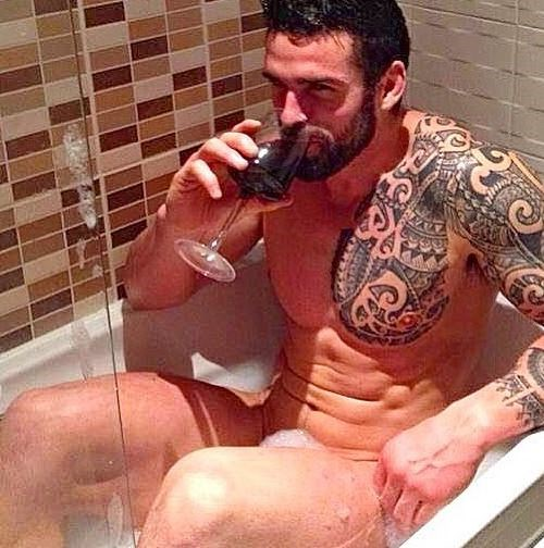 It's hard to know where to look in this pic, because BEARD, WINE, ABS, BUBBLES. We can't even.