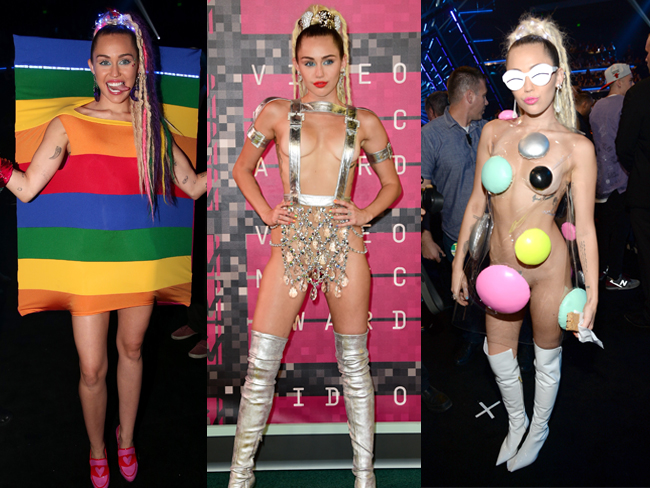 All of Miley Cyrus' crazy AF 2015 MTV VMAs outfits