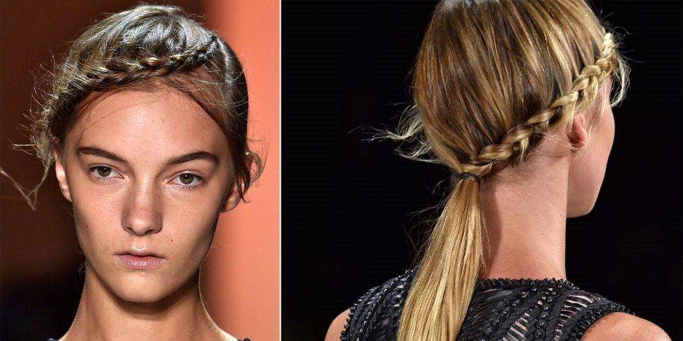 **HERVE LEGER BY MAX AZRIA** Orlando Pita, New York Fashion Week Ambassador for TRESemmé created the 'braided crown pony' at this show in New York. Starting at a deep side part, French braids went across the foreheads all the way to meet a low ponytail at the nape of the necks. The minimal makeup featured dewy highlights on the eyes, nose and lips.