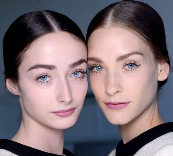 "**MANSUR GAVRIEL** James Boehmer, NARS Director of Global Artistry, gave girls ""chunky 'Twiggy' lashes"" at this show in New York using the NARS Audacious Mascara."