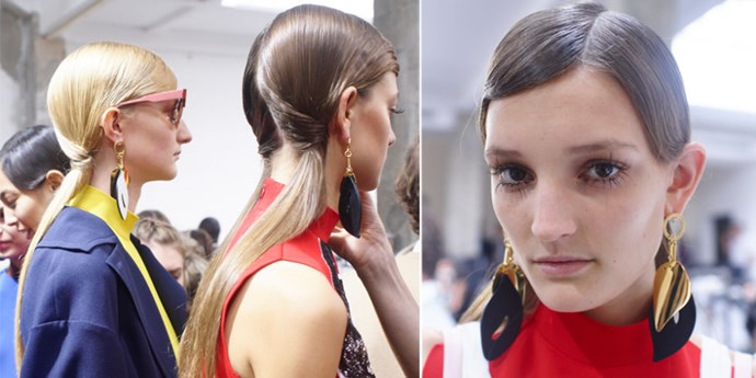 **MARNI** The models had grownup graphic pigtails at Marni created by hairstylist Paul Hanlon. From the front all eyes were on the exaggerated 60s lashes, with wispy falsies applied by makeup artist Tom Pecheux. Wow.