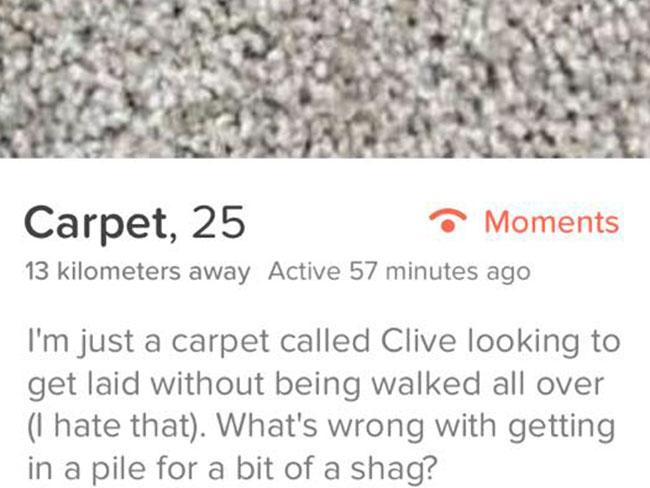 This 25-year-old carpet had a completely crazy exchange with its Tinder match