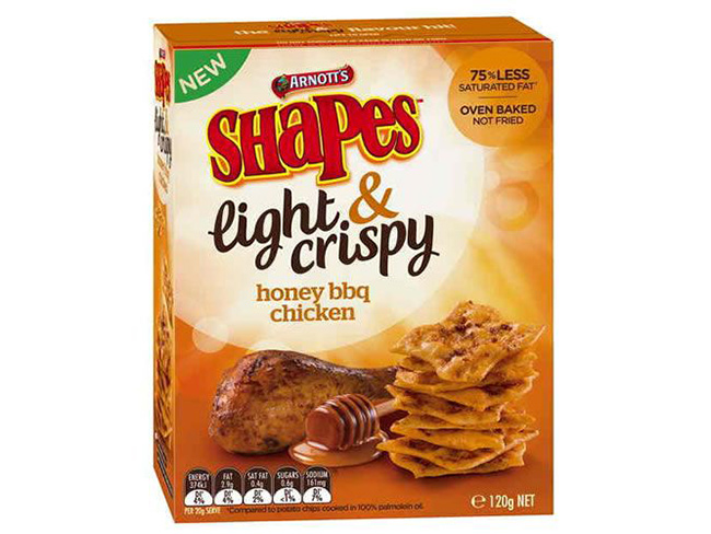Arnott's Shapes Light & Crispy has copped a heavy fine over false fat claims