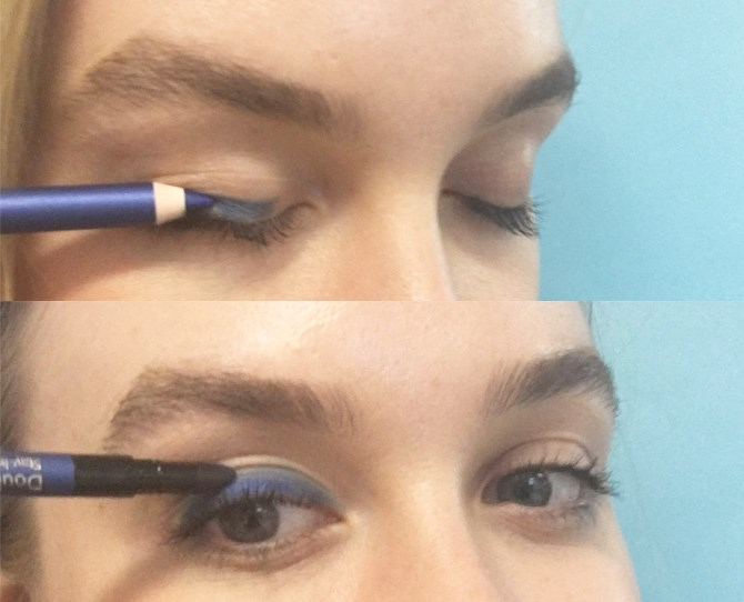 1. Create a quick AF smoky eye by lining your lids with a kohl pencil, then smudge and blend outwards with the sponge on the other end.