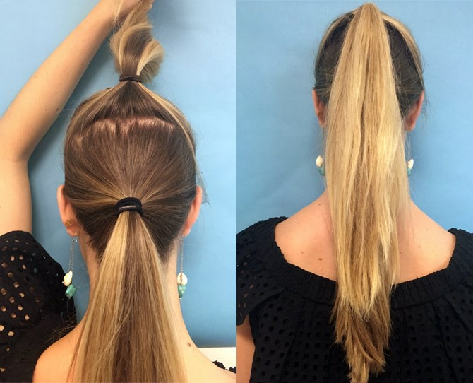 10. Create *two* ponytails instead of one to make your hair look longer.