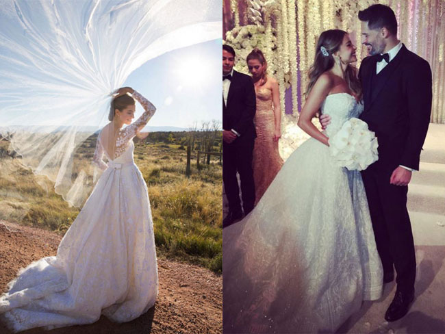 13 celebrity wedding dresses we couldn't stop talking about this year
