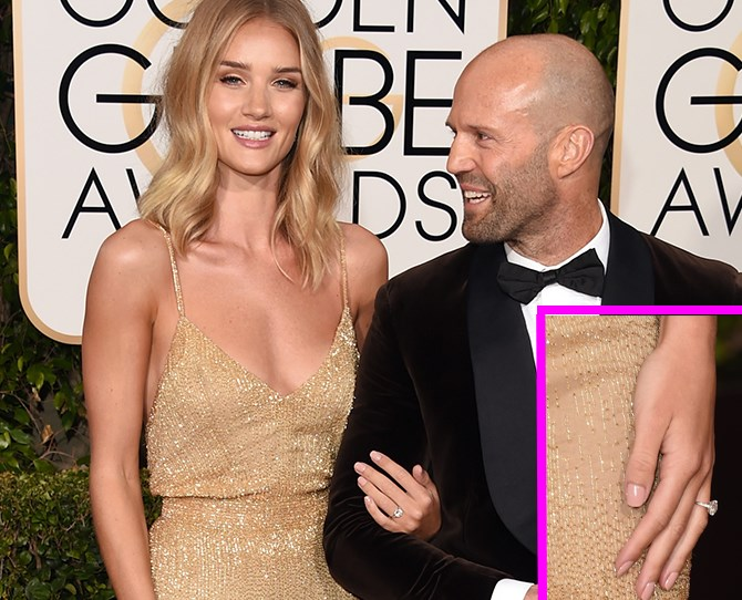 """Genetically spoilt Rosie Huntington-Whiteley and Jason Statham are getting hitched and she just showed off her shiny new ring on the [Golden Globes red carpet](http://www.cosmopolitan.com.au/celebrity/red-carpet-looks/2016/1/golden-globes-2016-red-carpet/