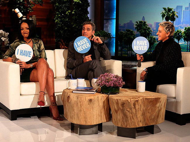 Rihanna explaining the art of the hookup to Ellen and George Clooney is EVERYTHING