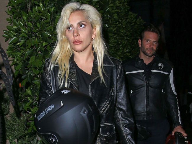 Lady Gaga got a lift to dinner on Bradley Cooper's motorbike, totally looked the part