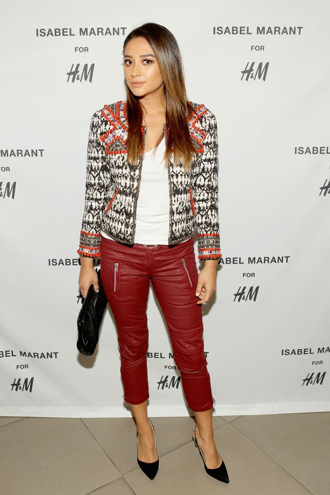 Red leather-look pants have never been a better idea than they have right now.