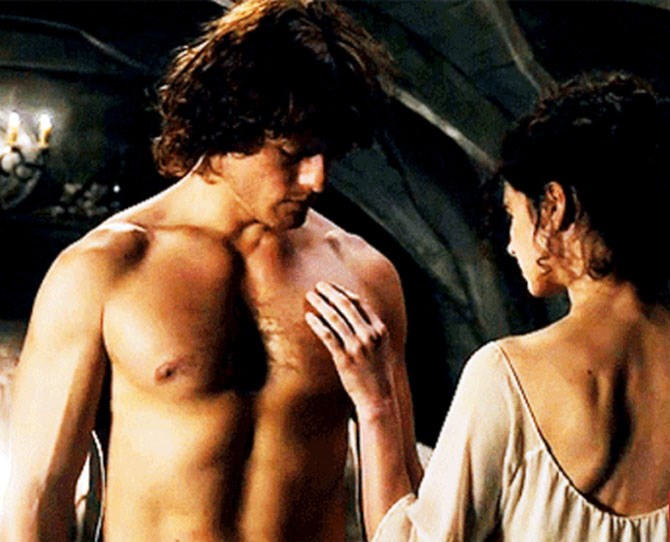 **3. Outlander: Jamie and Claire consummate their marriage** After Jamie and Claire enter into a marriage largely because Claire needs protection from Black Jack Randall, Claire decides they can't consummate it until they get to know each other a little better. There's a lot of talking, a lot of drinking, and then boom! Clothes are coming off and Claire is walking around Jamie's body and checking it for imperfections. Spoiler alert: There aren't any. He's a virgin, not a monk!
