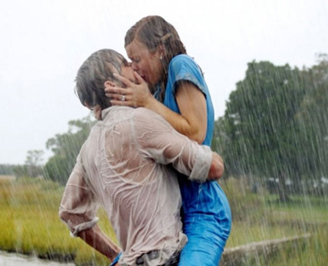 **9. The Notebook** Ryan Gosling and Rachel McAdams post-rain is one for the books from his furtive pantyhose yank to the wall slam heard around the world.